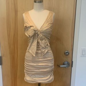 Beige-Gold, rouched w/ oversized bow detail